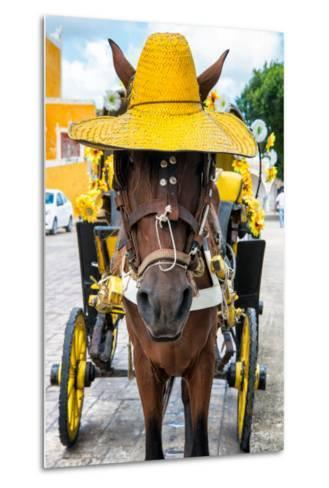 ?Viva Mexico! Collection - Horse with a straw Hat - Izamal Yellow City-Philippe Hugonnard-Metal Print