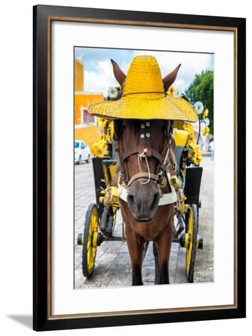 ?Viva Mexico! Collection - Horse with a straw Hat - Izamal Yellow City-Philippe Hugonnard-Framed Art Print