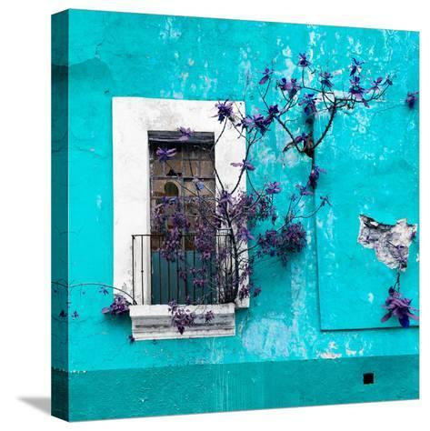 ¡Viva Mexico! Square Collection - Old Turquoise Facade II-Philippe Hugonnard-Stretched Canvas Print