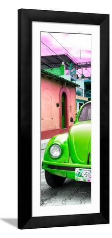 ¡Viva Mexico! Panoramic Collection - Green VW Beetle Car and Colorful Houses-Philippe Hugonnard-Framed Art Print