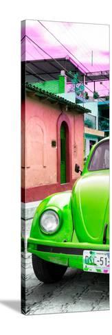 ¡Viva Mexico! Panoramic Collection - Green VW Beetle Car and Colorful Houses-Philippe Hugonnard-Stretched Canvas Print