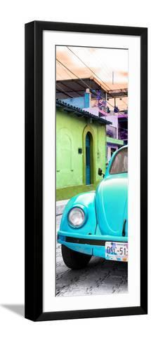 ¡Viva Mexico! Panoramic Collection - Turquoise VW Beetle Car and Colorful Houses-Philippe Hugonnard-Framed Art Print
