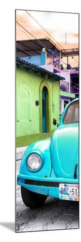 ¡Viva Mexico! Panoramic Collection - Turquoise VW Beetle Car and Colorful Houses-Philippe Hugonnard-Mounted Photographic Print