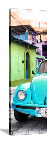 ¡Viva Mexico! Panoramic Collection - Turquoise VW Beetle Car and Colorful Houses-Philippe Hugonnard-Stretched Canvas Print