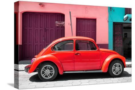 ?Viva Mexico! Collection - The Red Beetle Car-Philippe Hugonnard-Stretched Canvas Print