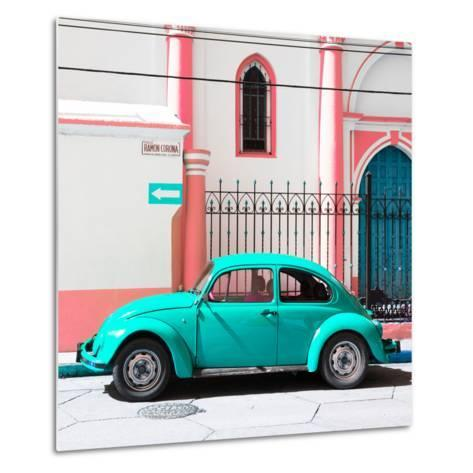 ¡Viva Mexico! Square Collection - Turquoise VW Beetle in San Cristobal-Philippe Hugonnard-Metal Print
