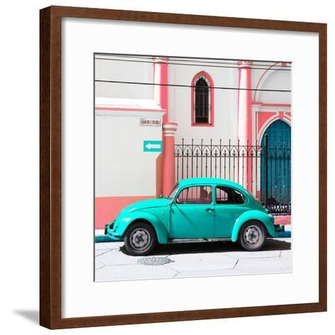 ¡Viva Mexico! Square Collection - Turquoise VW Beetle in San Cristobal-Philippe Hugonnard-Framed Art Print