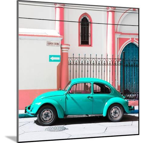 ¡Viva Mexico! Square Collection - Turquoise VW Beetle in San Cristobal-Philippe Hugonnard-Mounted Photographic Print