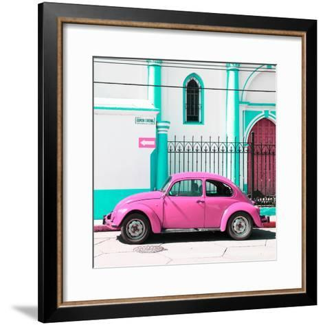 ¡Viva Mexico! Square Collection - Pink VW Beetle in San Cristobal-Philippe Hugonnard-Framed Art Print