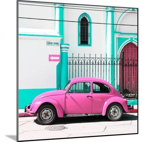 ¡Viva Mexico! Square Collection - Pink VW Beetle in San Cristobal-Philippe Hugonnard-Mounted Photographic Print