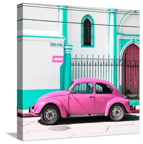 ¡Viva Mexico! Square Collection - Pink VW Beetle in San Cristobal-Philippe Hugonnard-Stretched Canvas Print