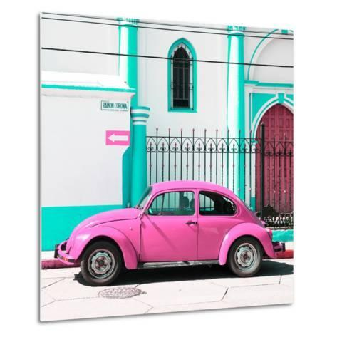 ¡Viva Mexico! Square Collection - Pink VW Beetle in San Cristobal-Philippe Hugonnard-Metal Print