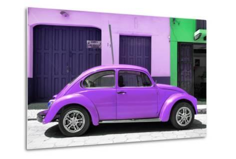 ¡Viva Mexico! Collection - The Purple Beetle Car-Philippe Hugonnard-Metal Print