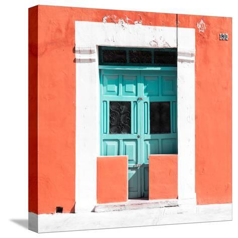 """¡Viva Mexico! Square Collection - """"130 Street"""" Coral Wall-Philippe Hugonnard-Stretched Canvas Print"""