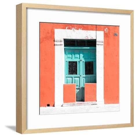 """¡Viva Mexico! Square Collection - """"130 Street"""" Coral Wall-Philippe Hugonnard-Framed Art Print"""