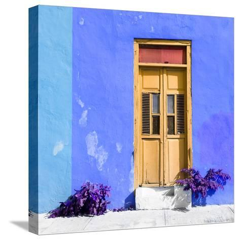 ¡Viva Mexico! Square Collection - Dark Beige Door & Blue Wall in Campeche-Philippe Hugonnard-Stretched Canvas Print