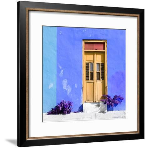 ¡Viva Mexico! Square Collection - Dark Beige Door & Blue Wall in Campeche-Philippe Hugonnard-Framed Art Print