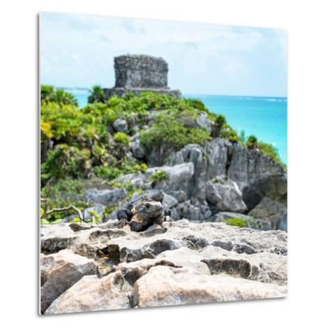 ¡Viva Mexico! Square Collection - Tulum Ruins along Caribbean Coastline with Iguana III-Philippe Hugonnard-Metal Print
