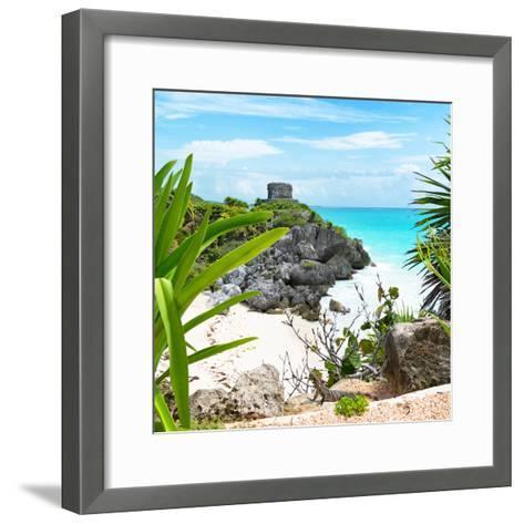 ¡Viva Mexico! Square Collection - Tulum Ruins along Caribbean Coastline with Iguana-Philippe Hugonnard-Framed Art Print