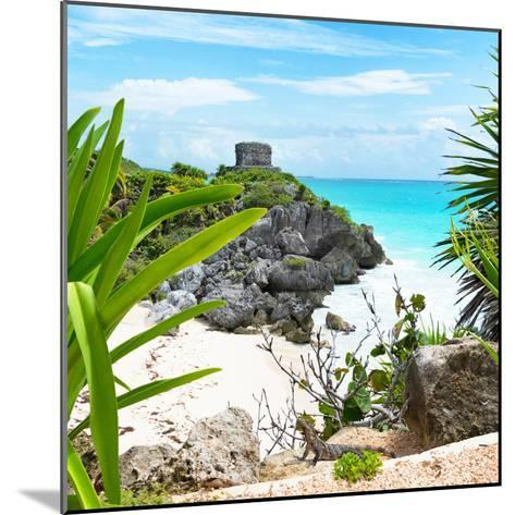 ¡Viva Mexico! Square Collection - Tulum Ruins along Caribbean Coastline with Iguana-Philippe Hugonnard-Mounted Photographic Print