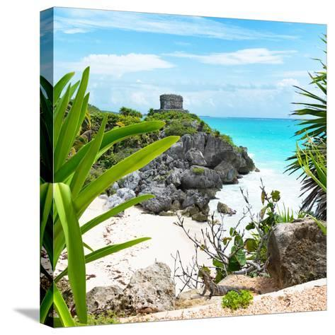¡Viva Mexico! Square Collection - Tulum Ruins along Caribbean Coastline with Iguana-Philippe Hugonnard-Stretched Canvas Print