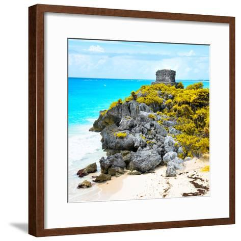 ¡Viva Mexico! Square Collection - Tulum Ruins along Caribbean Coastline XI-Philippe Hugonnard-Framed Art Print