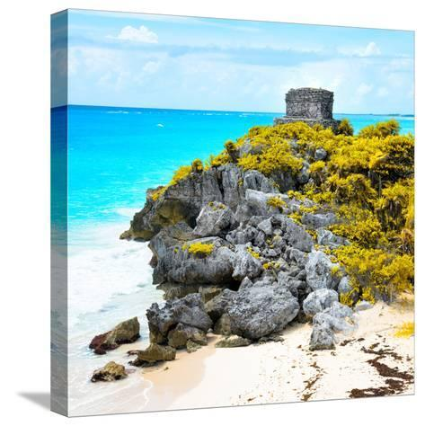 ¡Viva Mexico! Square Collection - Tulum Ruins along Caribbean Coastline XI-Philippe Hugonnard-Stretched Canvas Print