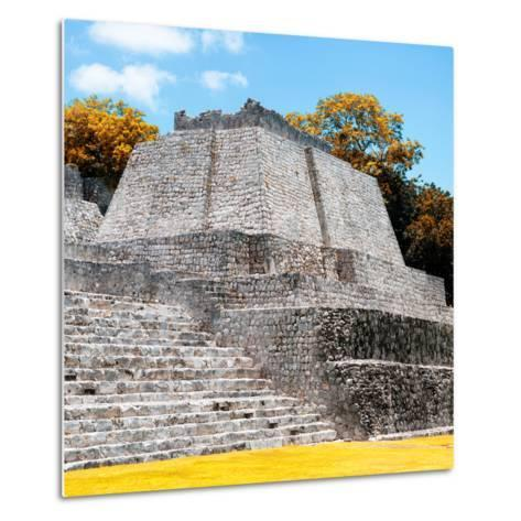 ¡Viva Mexico! Square Collection - Mayan Ruins in Edzna with Fall Colors-Philippe Hugonnard-Metal Print