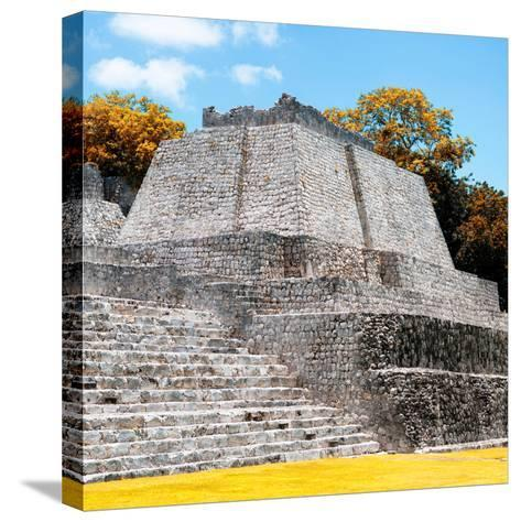¡Viva Mexico! Square Collection - Mayan Ruins in Edzna with Fall Colors-Philippe Hugonnard-Stretched Canvas Print