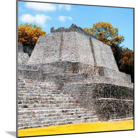 ¡Viva Mexico! Square Collection - Mayan Ruins in Edzna with Fall Colors-Philippe Hugonnard-Mounted Photographic Print