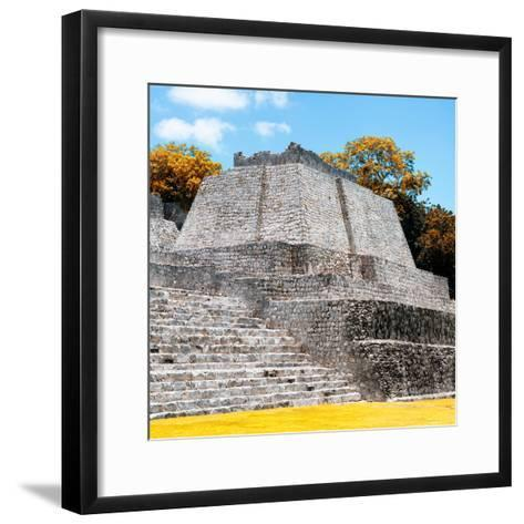 ¡Viva Mexico! Square Collection - Mayan Ruins in Edzna with Fall Colors-Philippe Hugonnard-Framed Art Print