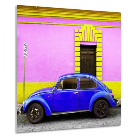 ¡Viva Mexico! Square Collection - Royal Blue VW Beetle - San Cristobal-Philippe Hugonnard-Metal Print