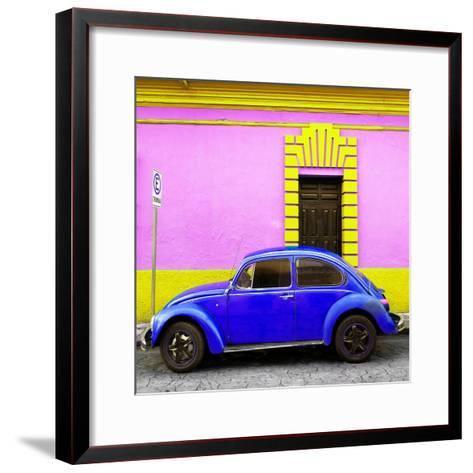 ¡Viva Mexico! Square Collection - Royal Blue VW Beetle - San Cristobal-Philippe Hugonnard-Framed Art Print