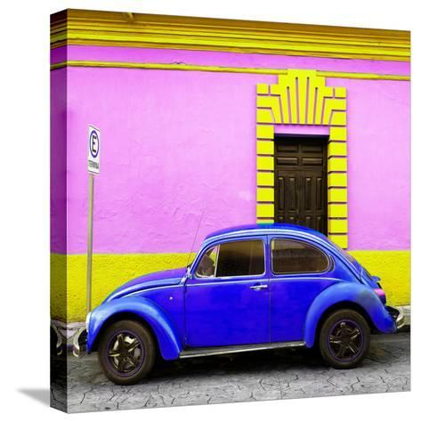 ¡Viva Mexico! Square Collection - Royal Blue VW Beetle - San Cristobal-Philippe Hugonnard-Stretched Canvas Print