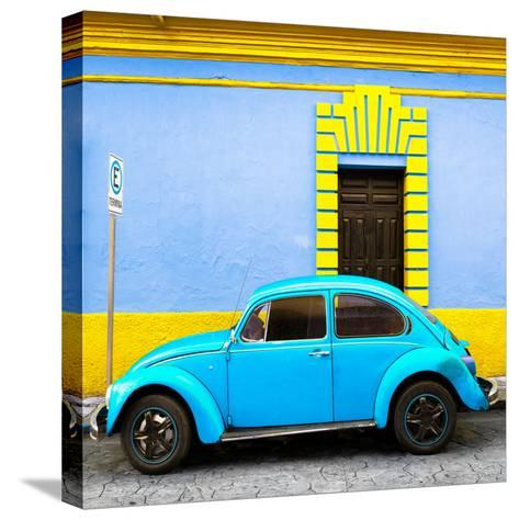 ¡Viva Mexico! Square Collection - Turquoise VW Beetle - San Cristobal-Philippe Hugonnard-Stretched Canvas Print