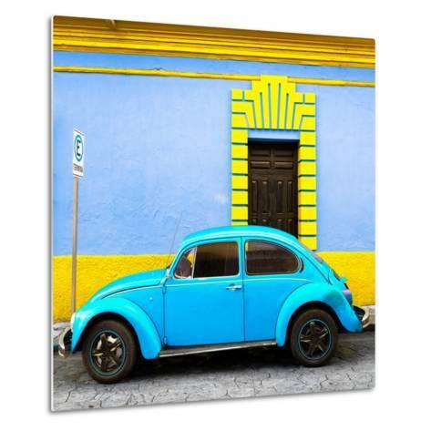 ¡Viva Mexico! Square Collection - Turquoise VW Beetle - San Cristobal-Philippe Hugonnard-Metal Print