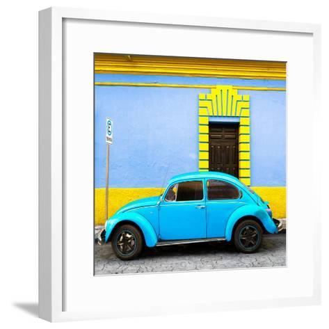 ¡Viva Mexico! Square Collection - Turquoise VW Beetle - San Cristobal-Philippe Hugonnard-Framed Art Print