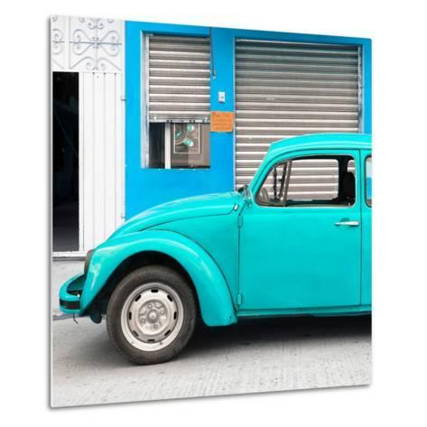 ¡Viva Mexico! Square Collection - Turquoise VW Beetle and Blue Facade-Philippe Hugonnard-Metal Print