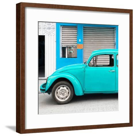 ¡Viva Mexico! Square Collection - Turquoise VW Beetle and Blue Facade-Philippe Hugonnard-Framed Art Print