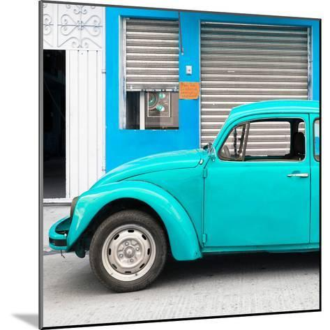 ¡Viva Mexico! Square Collection - Turquoise VW Beetle and Blue Facade-Philippe Hugonnard-Mounted Photographic Print