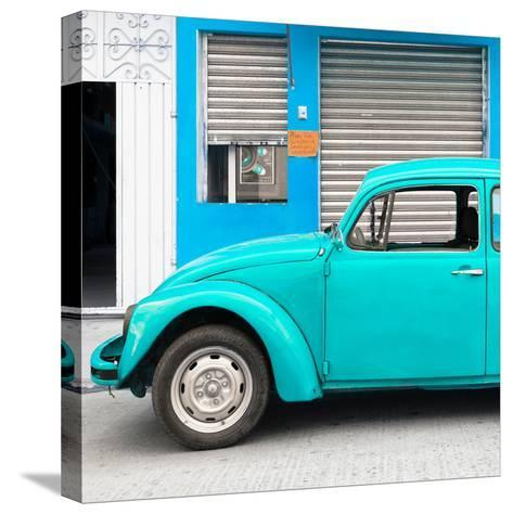 ¡Viva Mexico! Square Collection - Turquoise VW Beetle and Blue Facade-Philippe Hugonnard-Stretched Canvas Print