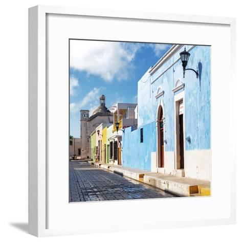 ¡Viva Mexico! Square Collection - Beautiful Colorful Street in Campeche-Philippe Hugonnard-Framed Art Print