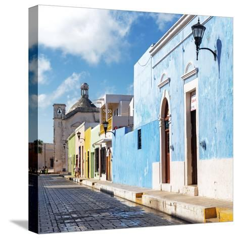 ¡Viva Mexico! Square Collection - Beautiful Colorful Street in Campeche-Philippe Hugonnard-Stretched Canvas Print