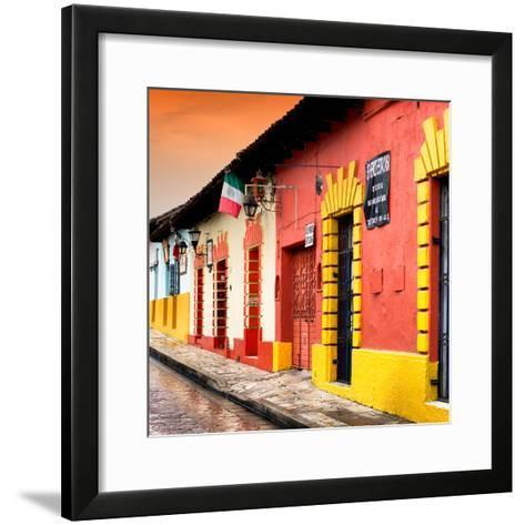 ¡Viva Mexico! Square Collection - Street Scene in San Cristobal de Las Casas II-Philippe Hugonnard-Framed Art Print
