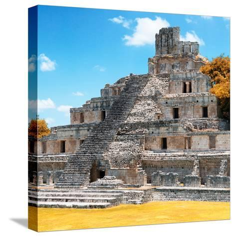¡Viva Mexico! Square Collection - Mayan Ruins with Fall Colors - Edzna III-Philippe Hugonnard-Stretched Canvas Print