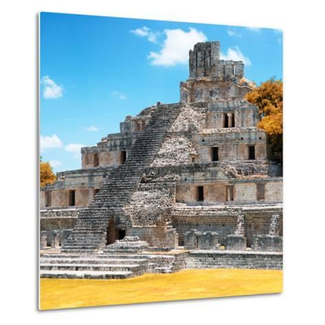 ¡Viva Mexico! Square Collection - Mayan Ruins with Fall Colors - Edzna III-Philippe Hugonnard-Metal Print