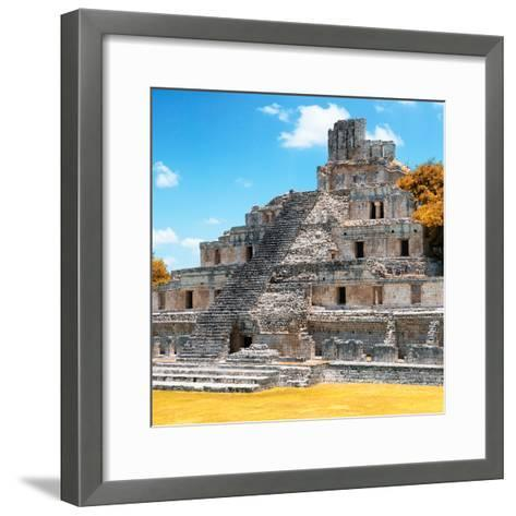 ¡Viva Mexico! Square Collection - Mayan Ruins with Fall Colors - Edzna III-Philippe Hugonnard-Framed Art Print