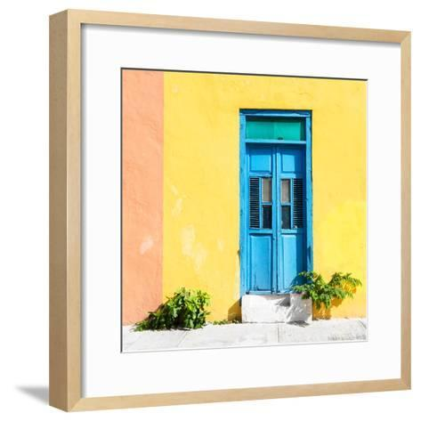 ¡Viva Mexico! Square Collection - Blue Door & Yellow Wall in Campeche-Philippe Hugonnard-Framed Art Print
