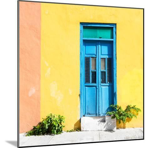 ¡Viva Mexico! Square Collection - Blue Door & Yellow Wall in Campeche-Philippe Hugonnard-Mounted Photographic Print