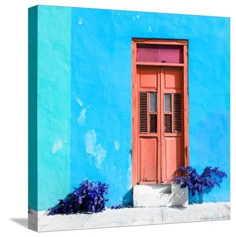 ¡Viva Mexico! Square Collection - Coral Door & Blue Wall in Campeche-Philippe Hugonnard-Stretched Canvas Print